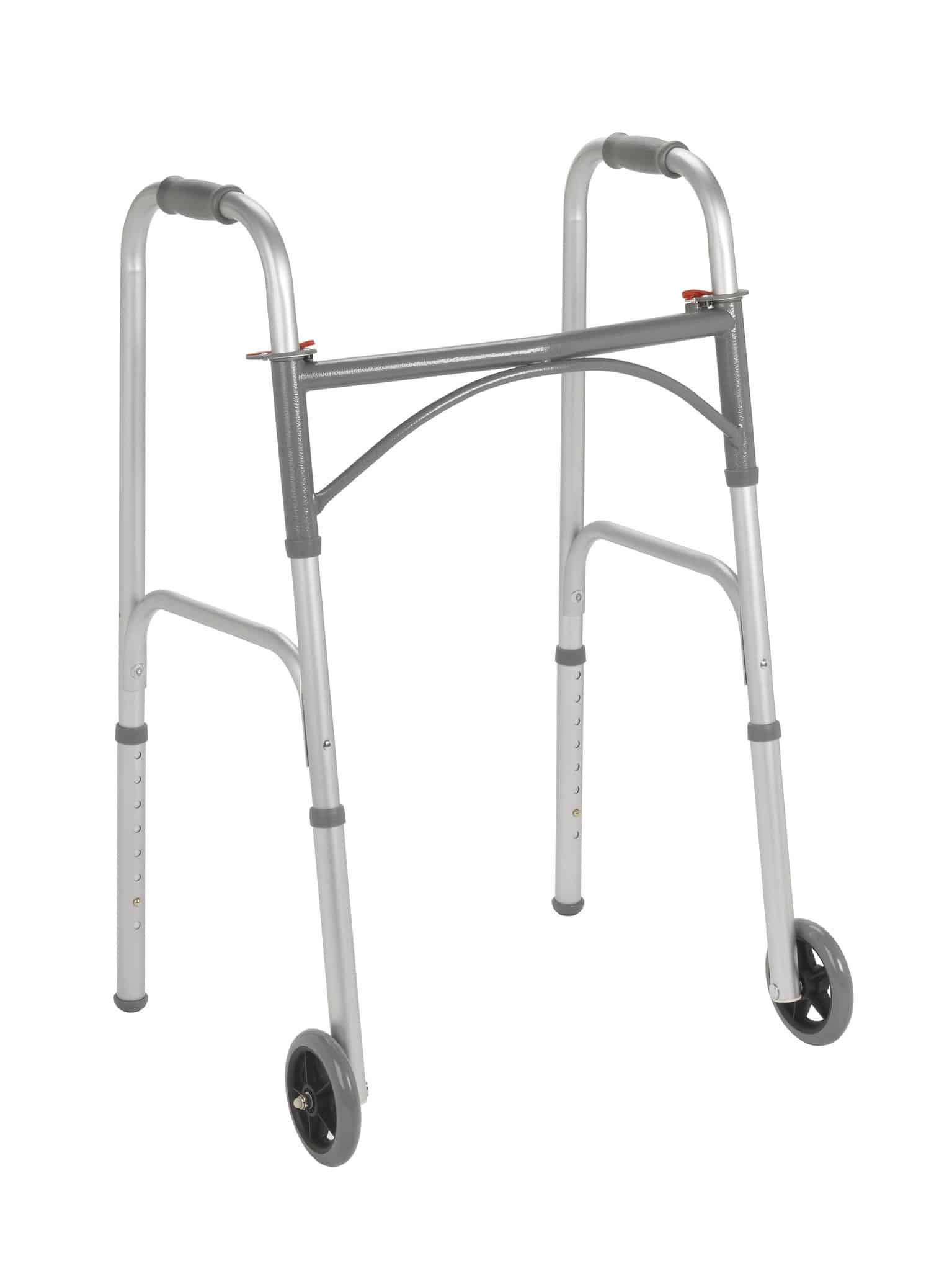 """Folding Junior Walker, Two Button with 5"""" Wheels"""