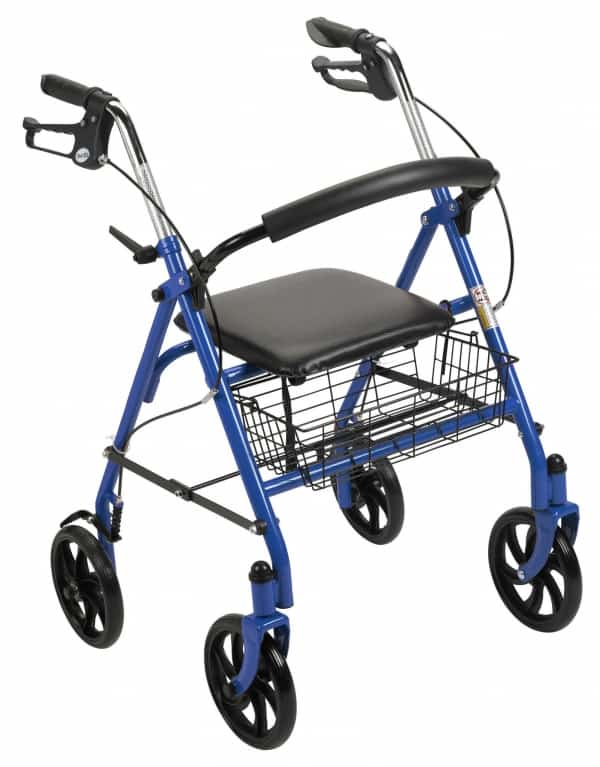 "Durable 4 Wheel Rollator with 7.5"" Casters (Fold-Up and Removable Back Support, Loop Locks)"