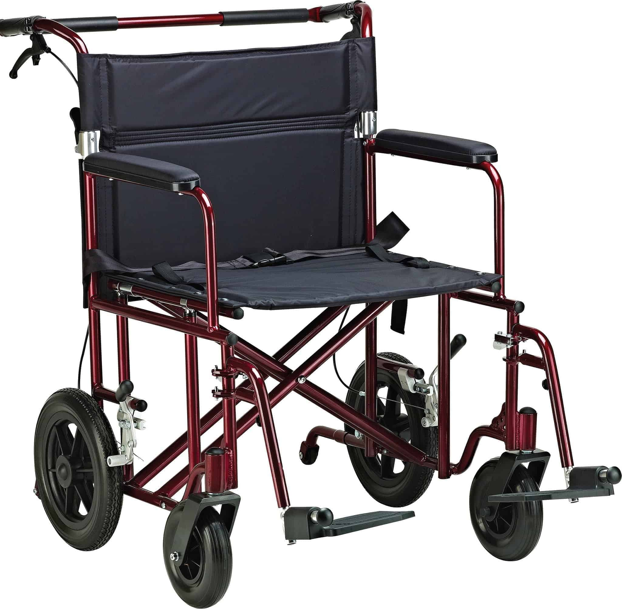 "22"" Bariatric Aluminum Transport Chair (With 12"" Rear ""Flat-Free"" Wheels)"