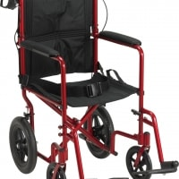"Lightweight Expedition Aluminum Transport Chair (With 12"" Rear ""Flat-Free"" Wheels)"
