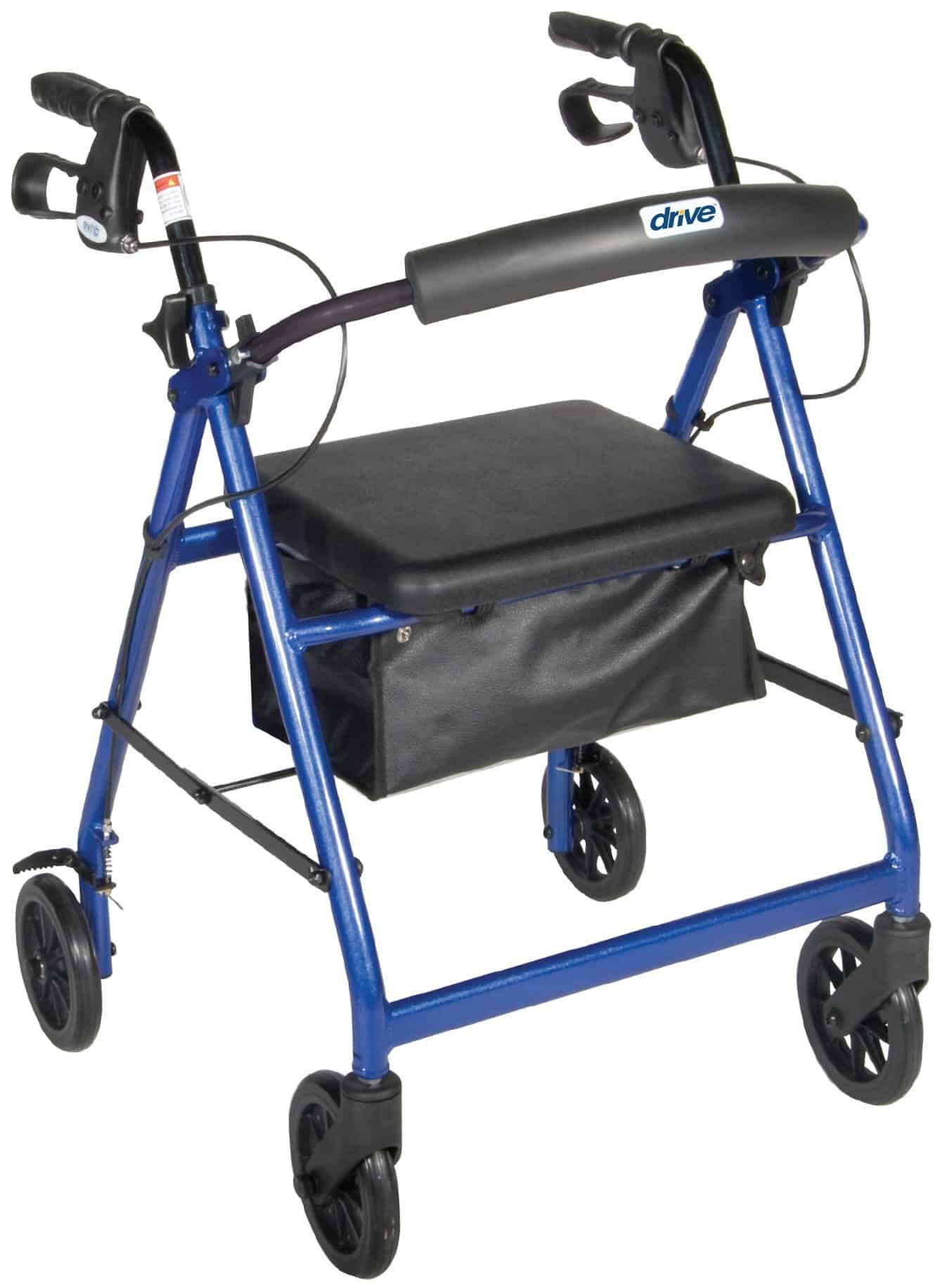 "Aluminum Rollator, 6"" Casters (Fold-Up and Removable Back Support, Padded Seat, Loop Locks)"