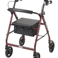 "Aluminum Rollator, 7.5"" Casters (Fold-up and Removable Back Support, Padded Seat, Loop Locks)"