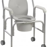 Aluminum Commode with Wheels (Assembled)