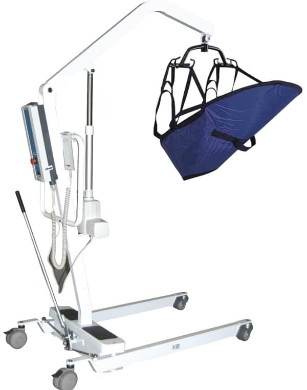 Battery-Powered Patient Lift with Rechargeable, Removable Battery